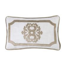 Madison Oblong White Linen Pillow W/ Velvet Embroidery. 2 Colors, 16x26 - Oatmeal