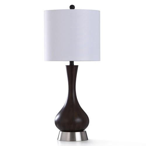 WOOD BRIDGE TABLE LAMP  13in w. X 31in ht.  Transitional Smooth Wood Painted Body Table Lamp with