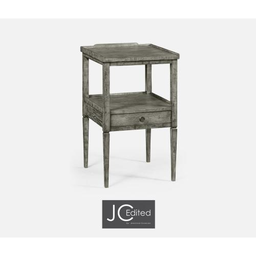 Antique Dark Grey Square Lamp Table with Drawer