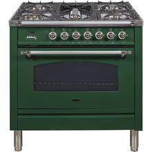 Nostalgie 36 Inch Dual Fuel Liquid Propane Freestanding Range in Emerald Green with Chrome Trim
