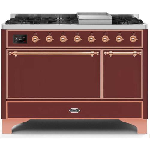 Gallery - Majestic II 48 Inch Dual Fuel Natural Gas Freestanding Range in Burgundy with Copper Trim