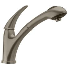 Waterhaus lead-free, solid stainless steel, single-hole faucet with a pull-out spray head, swivel body, and lever handle.