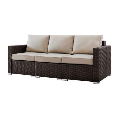 Woven Upholstered Outdoor Sofa in Rustic Brown / Beige