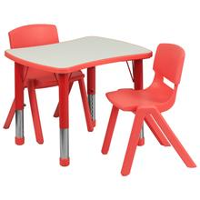See Details - 21.875''W x 26.625''L Rectangular Red Plastic Height Adjustable Activity Table Set with 2 Chairs