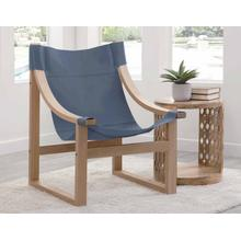 See Details - Lima Sling Chair, Cobalt Leather with Natural Frame