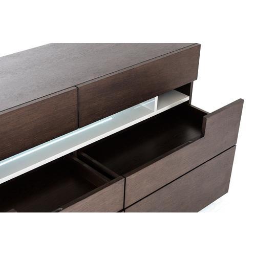 Modrest Ceres - Contemporary Brown Oak and Grey Dresser w/ LED Light