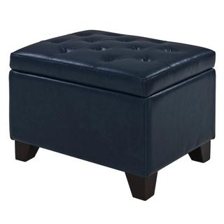 Julian Rectangular Bonded Leather Storage Ottoman, Vintage Blue