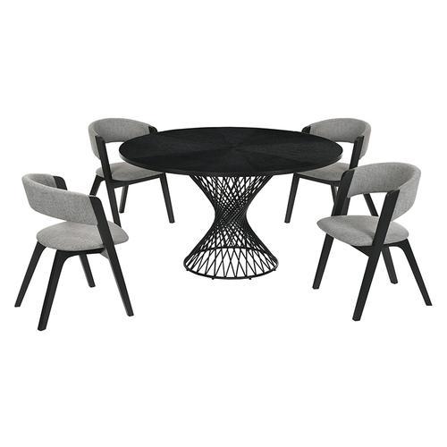 Cirque and Rowan 5 Piece Black Round Dining Set