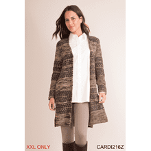 Calico Knit Long Cardigan - XXL (3 pc. ppk.)