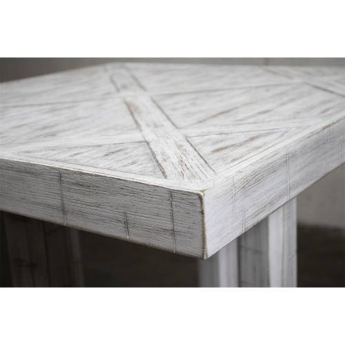 Madison - Parquet Side Table - Rustic White Finish