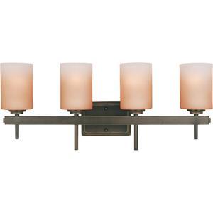 4-lite Wall Lamp, Dark Bronze/amber Gls Shd,a 60wx4