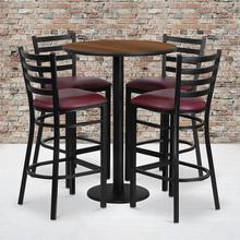 Product Image - 30'' Round Walnut Laminate Table Set with Round Base and 4 Ladder Back Metal Barstools - Burgundy Vinyl Seat