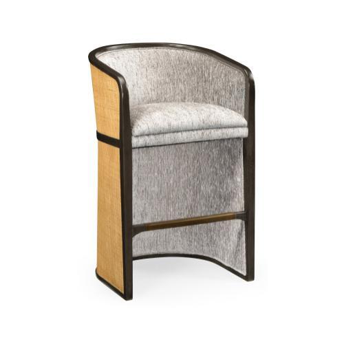 Dark Brown Ash Bar Stool, Upholstered in COM