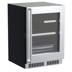 24-In Professional Built-In Refrigerator With 3-In-1 Convertible Shelf, Maxstore Bin And Reversible Hinge with Door Style - Stainless Steel Frame Glass