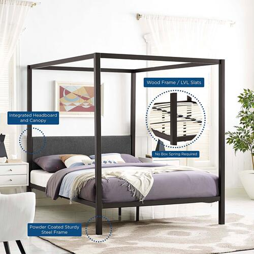 Modway - Raina Queen Canopy Bed Frame in Brown Gray