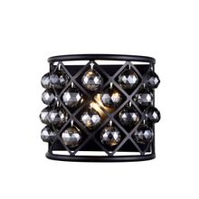 Madison 1 light Matte Black Wall Sconce Silver Shade (Grey) Royal Cut Crystal