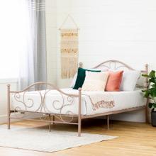 Metal Platform Bed with Headboard and Metal Slats - 54''