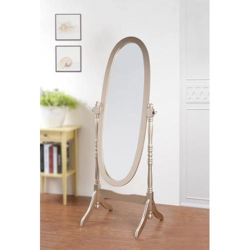 Round Hill Furniture - Traditional Queen Anna Style Wood Floor Cheval Mirror, Gold Finish