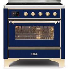 Majestic II 36 Inch Electric Freestanding Range in Blue with Brass Trim
