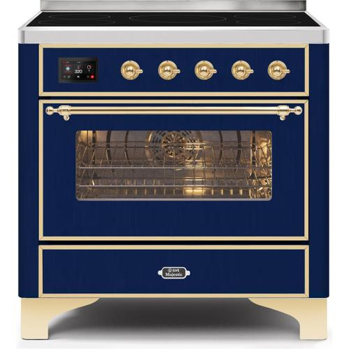 Product Image - Majestic II 36 Inch Electric Freestanding Range in Blue with Brass Trim