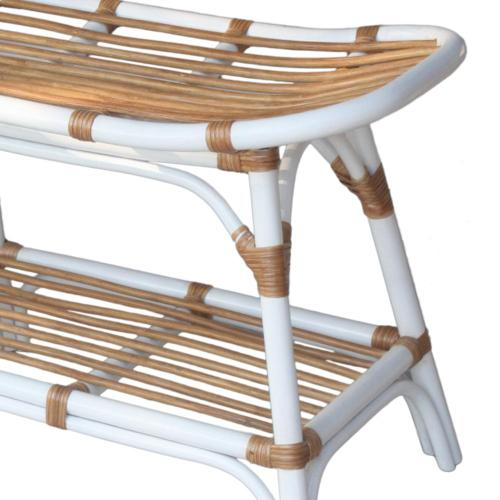 Damara Rattan Bench w/ Shelf, White