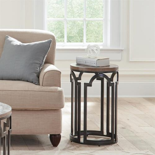 Estelle - Round Chairside Table - Washed Gray Finish