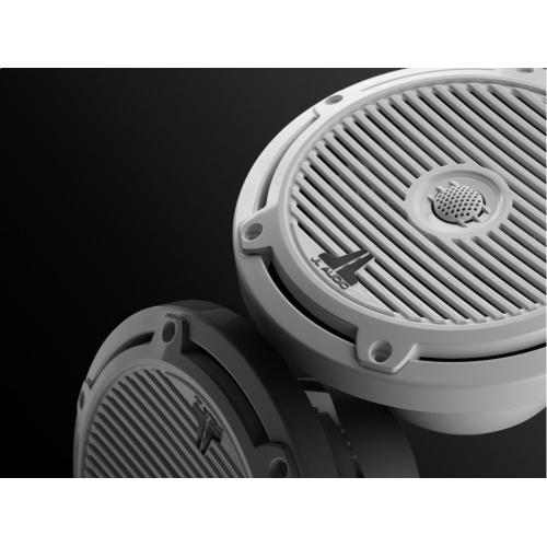 JL Audio - 7.7-inch (196 mm) Marine Coaxial Speakers, Gloss White Classic Grilles