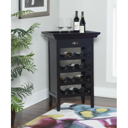 1-drawer and 16-bottle Wine Cabinet, Black