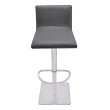 Armen Living Crystal Adjustable Swivel Barstool in Gray Pu with Brushed Stainless Steel Finish and Gray Walnut Veneer Back