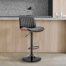 View Product - Brock Adjustable Black Faux Leather and Walnut Wood Bar Stool with Black Base
