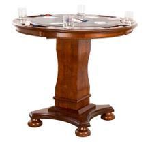 "CR-87148-TCB  Bellagio 42"" Round Counter Height Dining, Chess and Poker Table  Reversible 3 in 1 Game Top  Distressed Cherry Brown Wood"