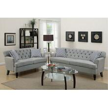 Amalia 2pc Loveseat & Sofa Set, Taupe-velvet