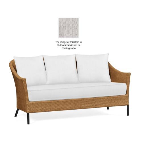 Tan Rattan Sofa, Upholstered in Standard Outdoor Fabric