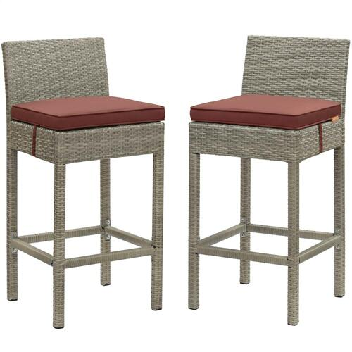 Conduit Bar Stool Outdoor Patio Wicker Rattan Set of 2 in Light Gray Currant