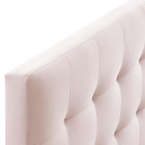 Lily Queen Biscuit Tufted Performance Velvet Headboard in Pink