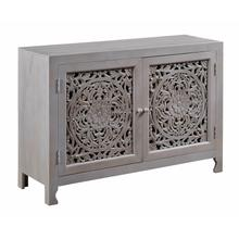 PIERCED FLORAL TWO DOOR CABINET