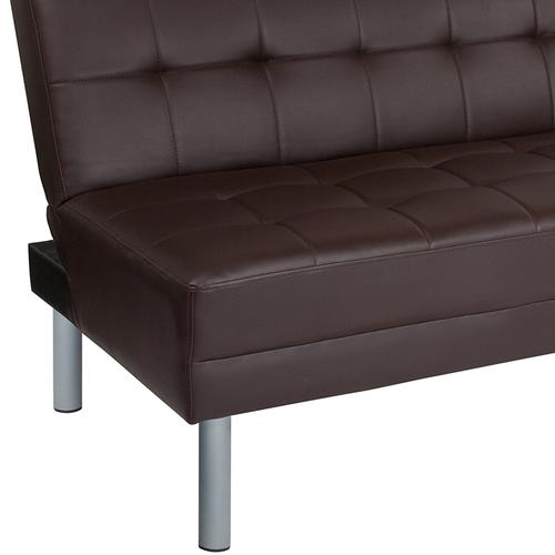 """Metropolitan 67"""" Brown LeatherSoft Futon Bed and Couch"""