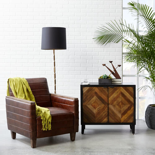 Wood Capped Arm Leather Lounge Chair