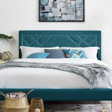 Reese Nailhead Full / Queen Upholstered Linen Fabric Headboard in Teal