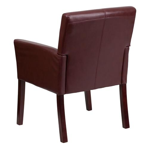 Gallery - Burgundy LeatherSoft Executive Side Reception Chair with Mahogany Legs