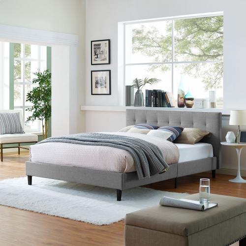 Linnea Queen Fabric Bed in Light Gray