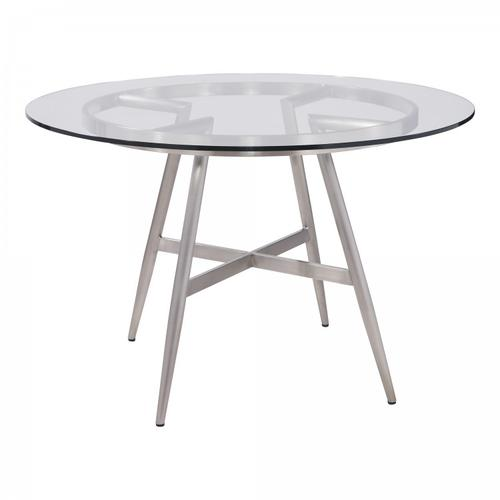 Armen Living Soleil Contemporary Dining Table in Brushed Stainless Steel and Clear Glass Top
