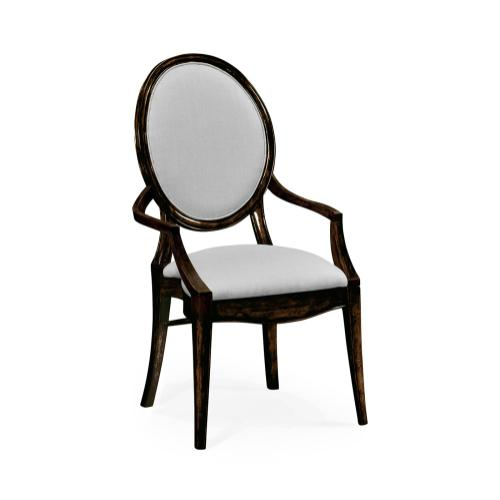 Stacking Spoon Back Honey Black Dining Armchair, Upholstered in COM