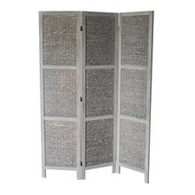 7041 GRAY Arrow Woven 3-Panel Room Divider