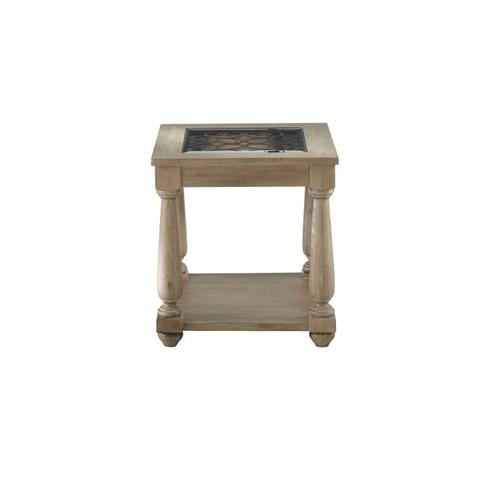 Savannah Distressed Glass End Table, Brown