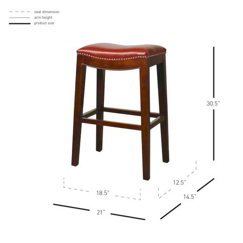 Elmo Bonded Leather Bar Stool, Red