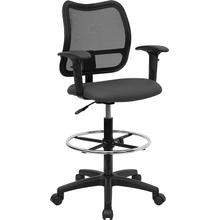 View Product - Mid-Back Gray Mesh Drafting Chair with Adjustable Arms