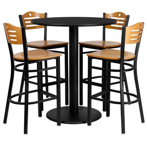 Flash Furniture - 36'' Round Black Laminate Table Set with 4 Wood Slat Back Metal Barstools - Natural Wood Seat