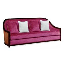 "86"" Sonokelling & Brown Rattan Sofa, Upholstered in Fuchsia Velvet"