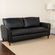 Milton Park Upholstered Plush Pillow Back Sofa in Black LeatherSoft